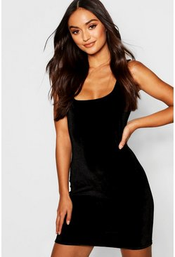 Black Petite Velvet Square Neck Bodycon Dress