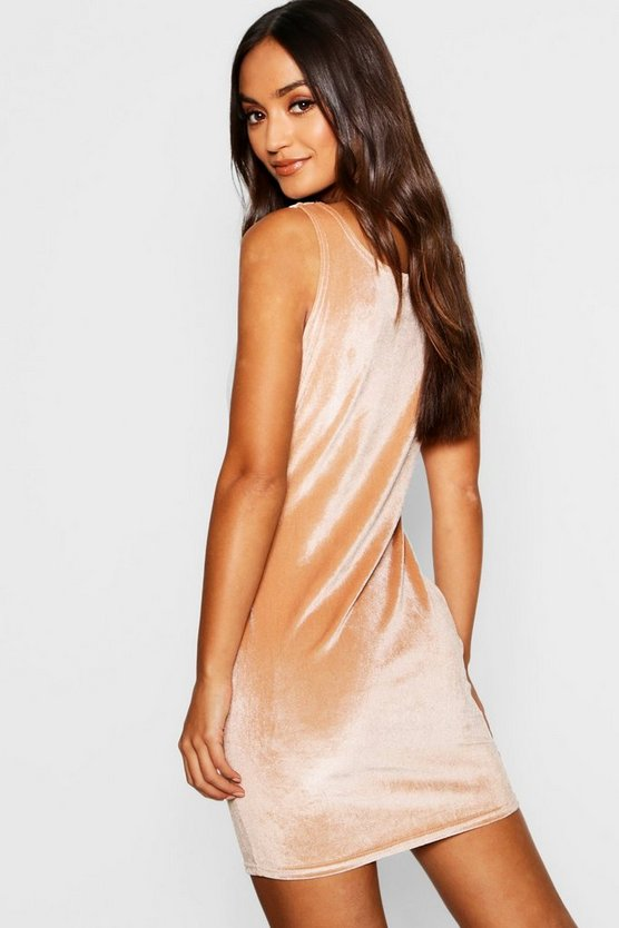 Petite Velvet Square Neck Bodycon Dress