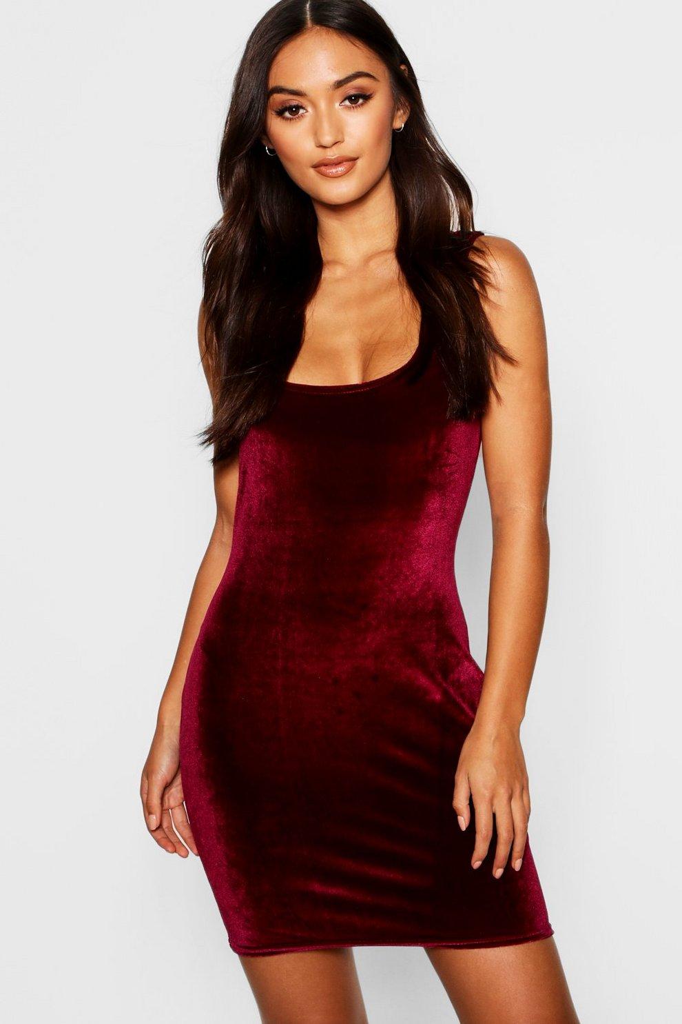 b090a782d231a Petite Velvet Square Neck Bodycon Dress | Boohoo