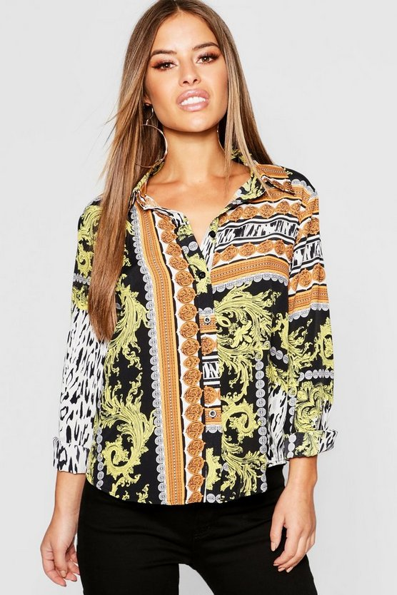 Petite Coin Chain Print Oversized Shirt