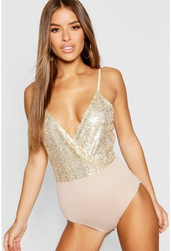 Womens Gold Petite Wrap Sequin Body Suit
