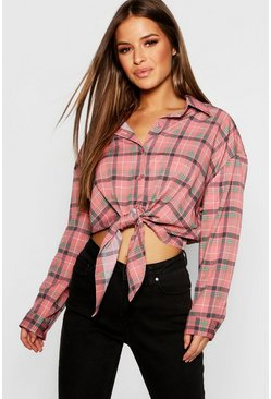 Womens Blush Petite Tie Front Oversized Checked Shirt