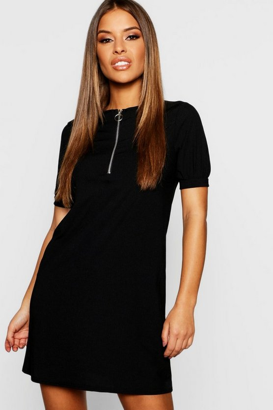 Petite Ribbed Zip Front T-Shirt Dress