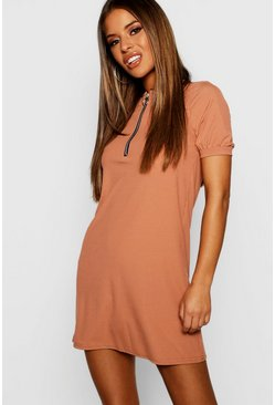 Womens Toffee Petite Ribbed Zip Front T-Shirt Dress