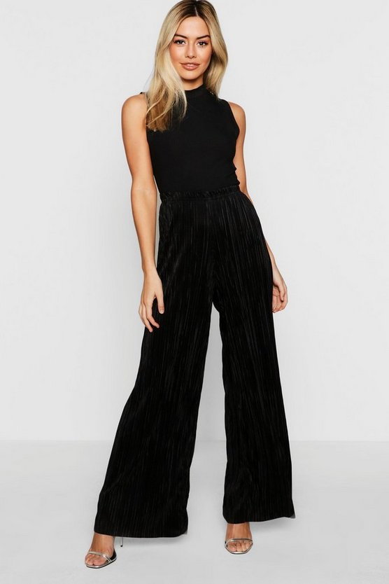 Petite Pleated Wide Leg Trousers
