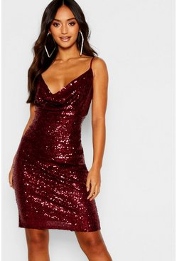 Berry Petite Sequin Cowl Neck Midi Dress