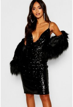 Black Petite Sequin Cowl Neck Midi Dress