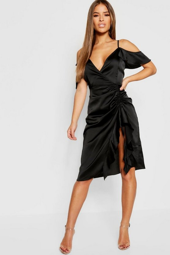Petite Satin Cold Shoulder Ruffle Hem Midi Dress