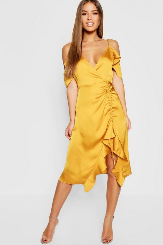 Womens Gold Petite Satin Cold Shoulder Ruffle Hem Midi Dress