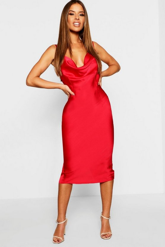 Petite Cowl Neck Satin Slip Dress