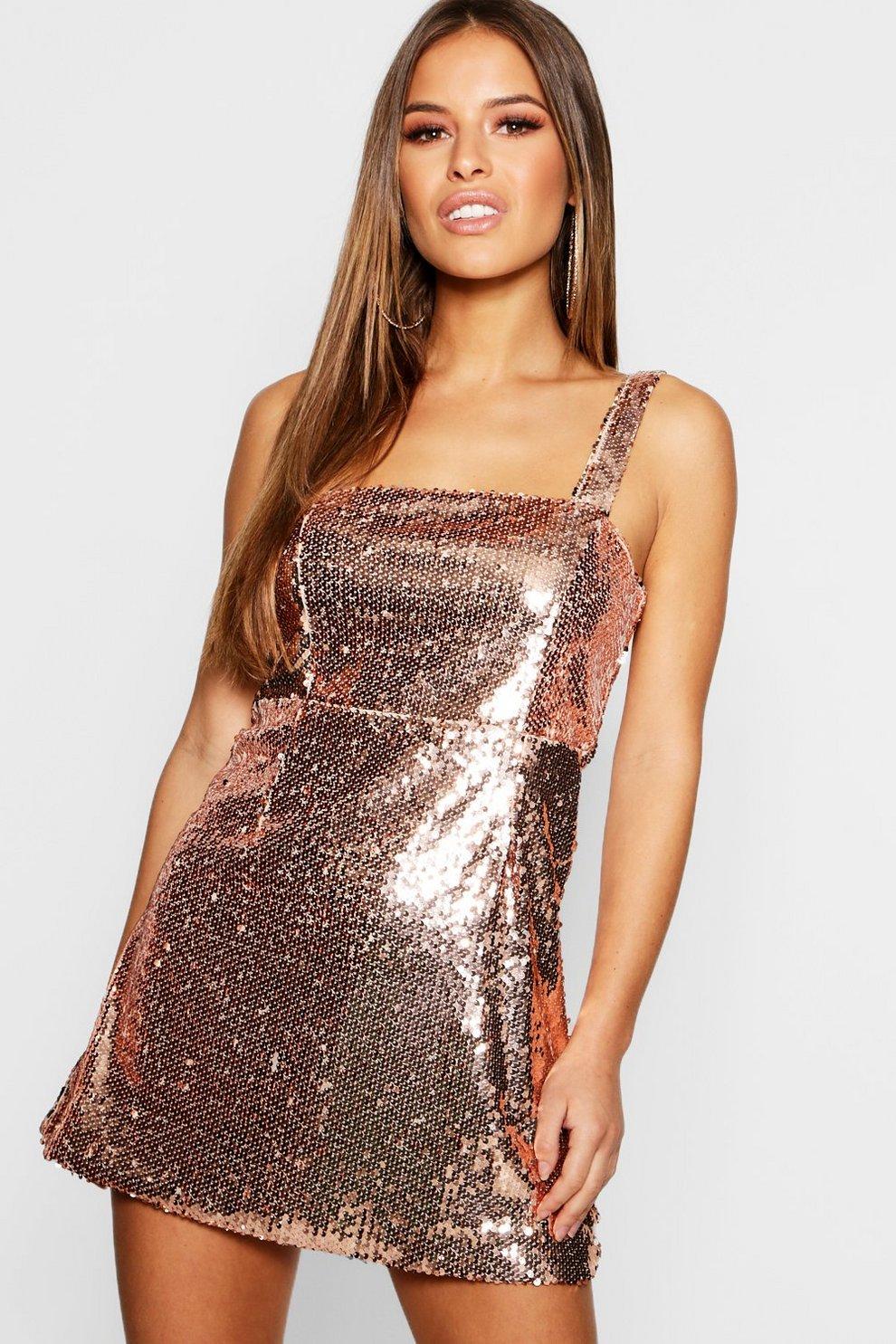 51db8c59 Petite Square Neck All Over Sequin Bodycon Dress | Boohoo