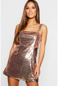 Womens Rose gold Petite Square Neck All Over Sequin Bodycon Dress