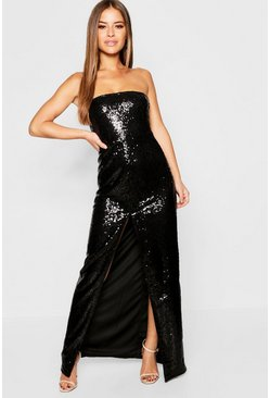 Womens Black Petite All Over Sequin Bandeau Maxi Dress