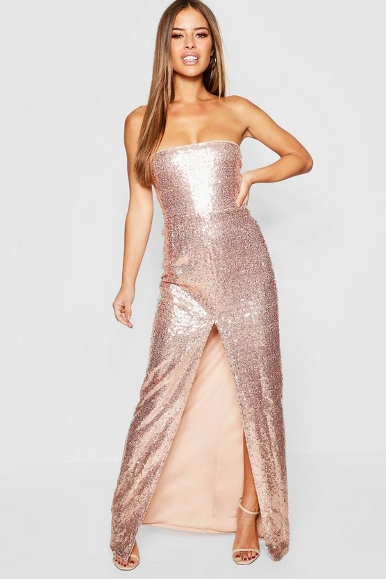 Petite All Over Sequin Bandeau Maxi Dress