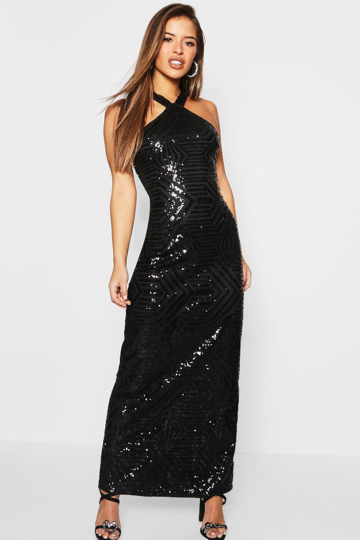 Petite Sequin Bodycon Maxi Dress
