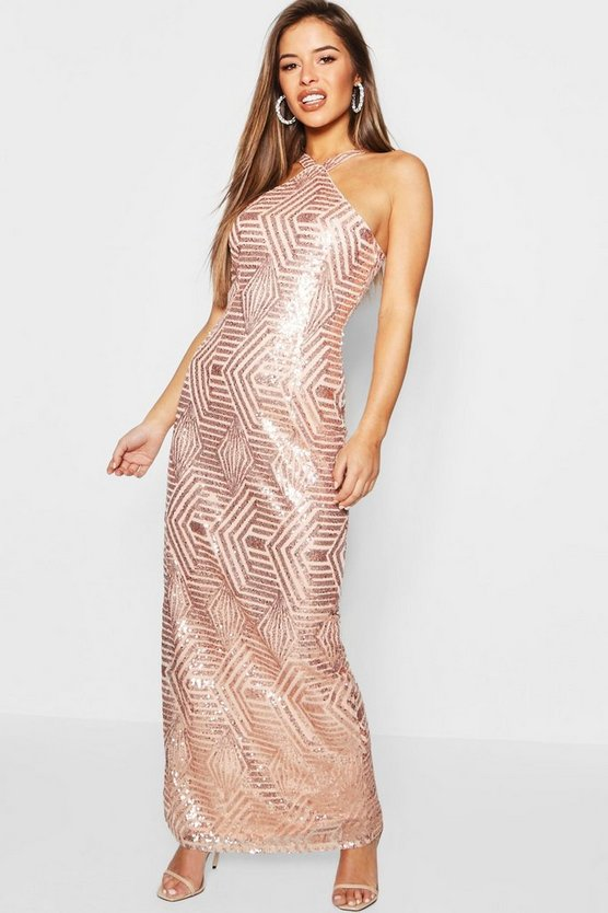 Womens Rose gold Petite Sequin Bodycon Maxi Dress