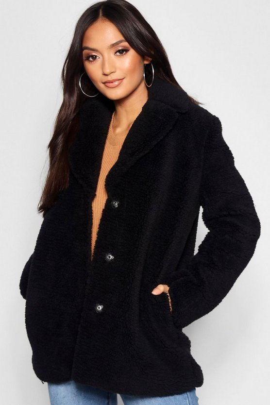 Petite Teddy Fur Revere Collar Teddy Coat