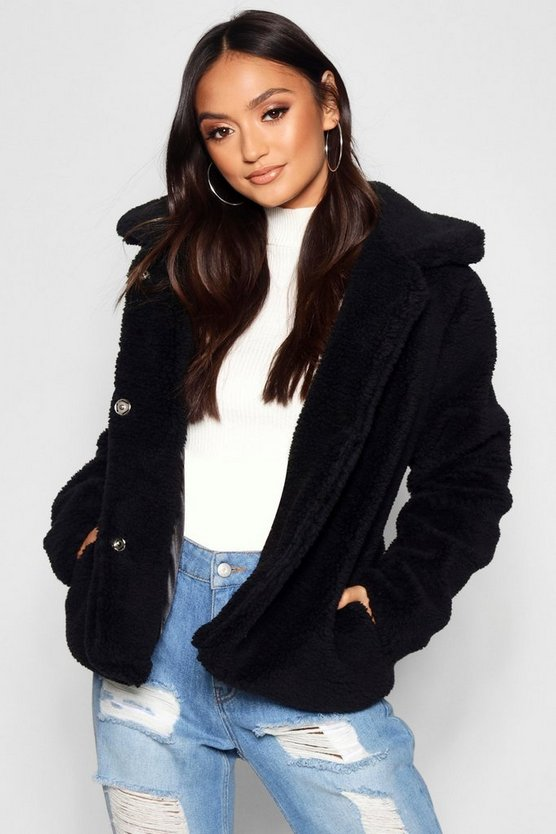 Womens Petite Revere Collar Cropped Teddy Coat