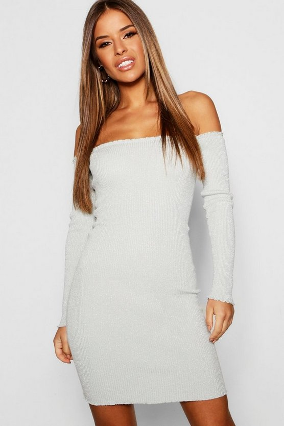 Womens Silver Petite Glitter Knit Bardot Dress