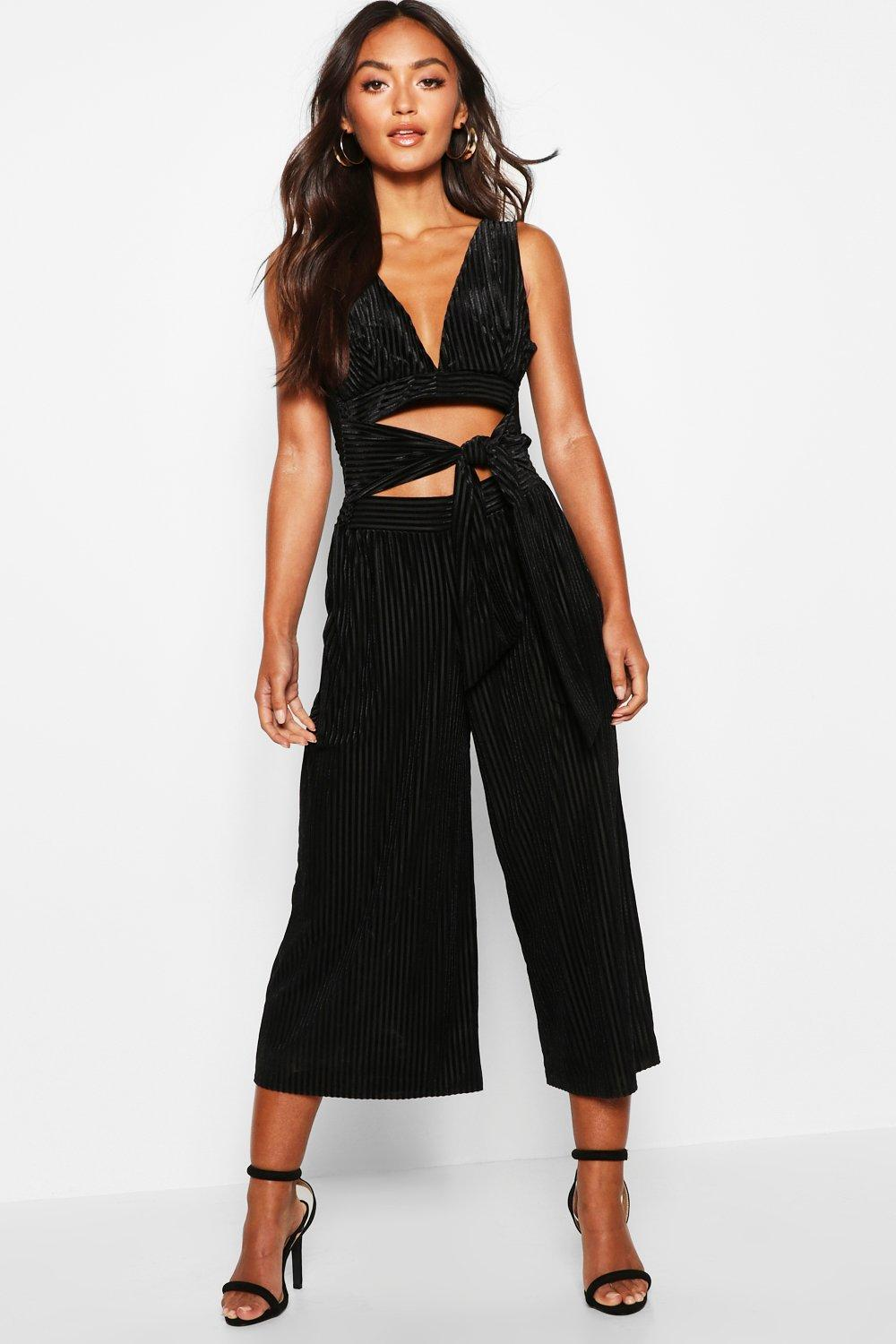 Petite Velvet Rib Cut Out Tie Front Jumpsuit