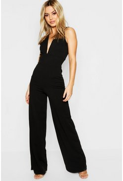 Womens Petite Plunge Wide Leg Jumpsuit