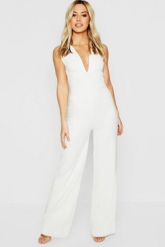 Womens White Petite Plunge Wide Leg Jumpsuit