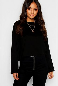 Womens Black Petite Oversized Drop Arm Long Sleeve Top