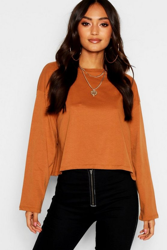 Petite Oversized Drop Arm Long Sleeve Top