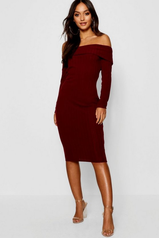 Petite Knitted Rib Bardot Midi Dress