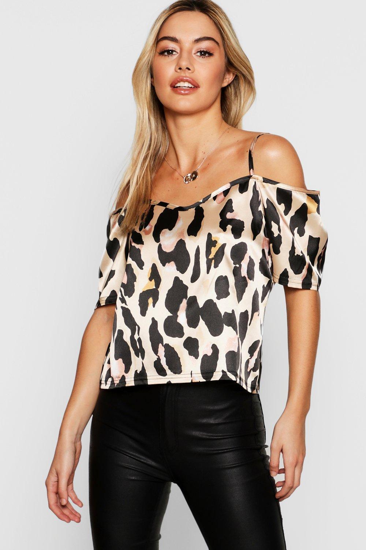 Petite Leopard Print Woven Open Shoulder Blouse