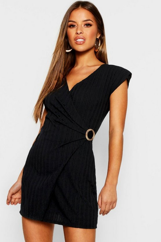 Petite Knitted Rib Buckle Detail Dress