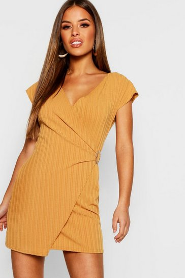 Womens Mustard Petite Knitted Rib Buckle Detail Dress
