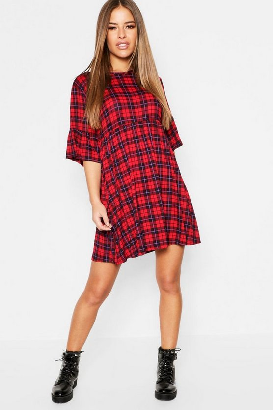 Womens Red Petite Tartan Smock Dress