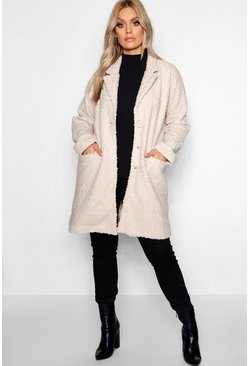 Womens Stone Plus Twisted Wool Look Oversized Coat