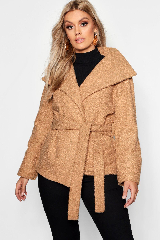 <плюс сайз> из шерсти с перекрученными Look Пальто с поясом boohoo thumbnail