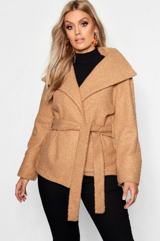 Womens Camel Plus Twisted Wool Look Belted Coat