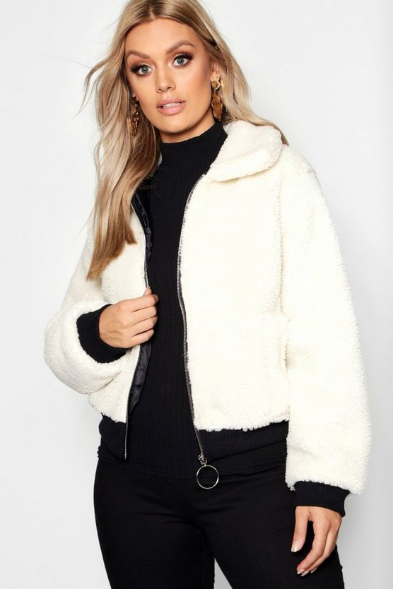 Womens Cream Plus Faux Fur Teddy Bomber Coat