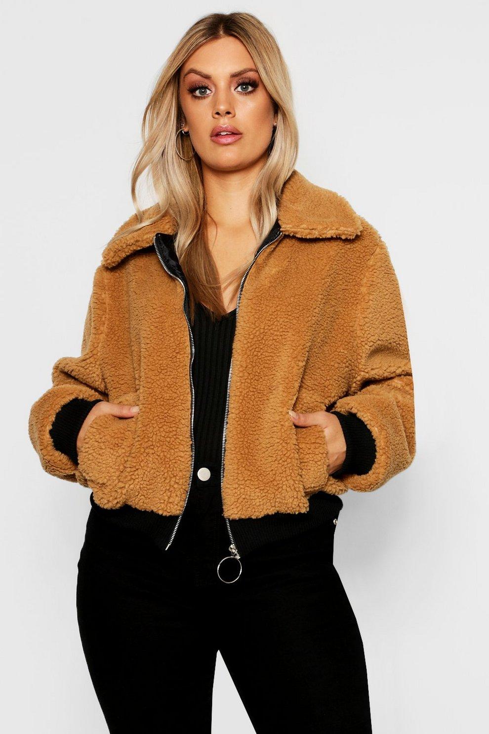 4cc8eb392e Womens Camel Plus Faux Fur Teddy Bomber Coat