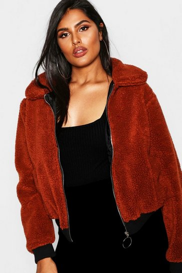Womens Rust Plus Faux Fur Teddy Bomber Coat