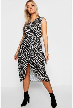 Womens Black Plus Zebra Wrap Dress