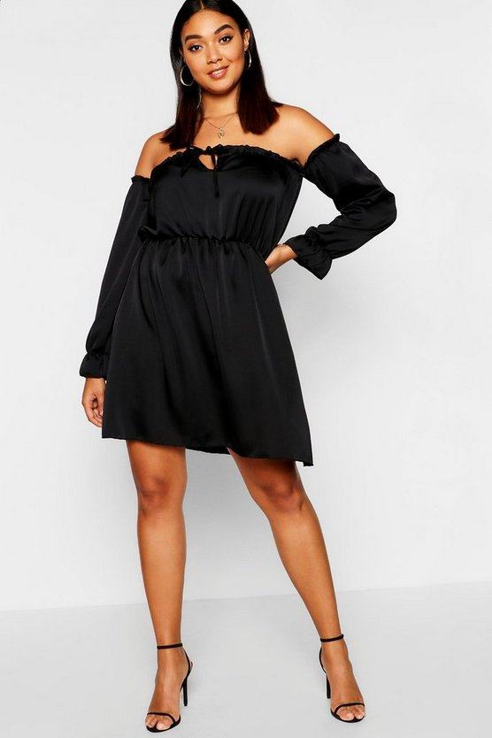Plus Off-Shoulder Skater-Kleid aus Satin