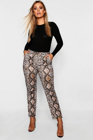 Womens Brown Plus Snakeskin Tailored Trouser