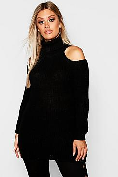 Plus Roll Neck Open Shoulder Sweater