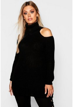 Womens Black Plus Roll Neck Open Shoulder Jumper