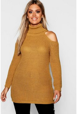 Womens Mustard Plus Roll Neck Open Shoulder Sweater