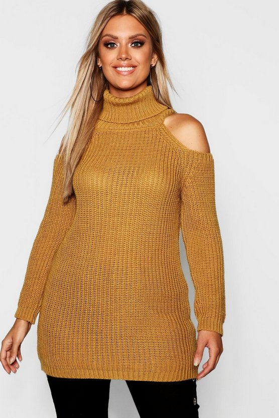 Plus Roll Neck Open Shoulder Jumper