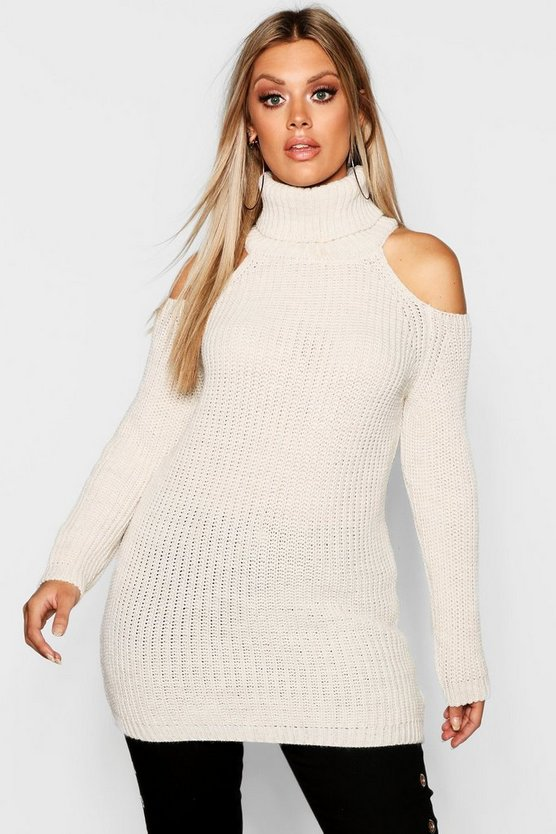 Womens Stone Plus Roll Neck Open Shoulder Jumper