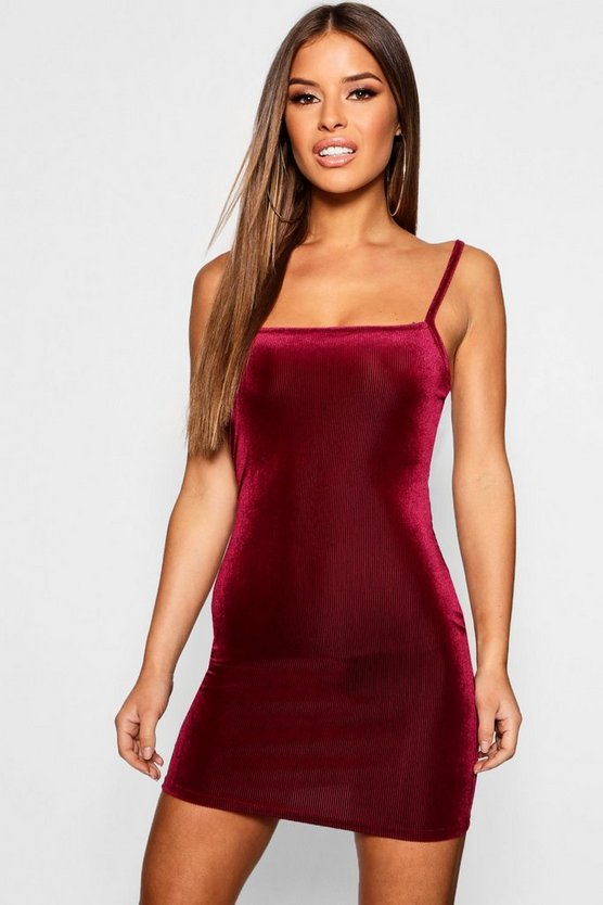 Womens Wine Petite Velvet Rib Square Neck Midi Dress