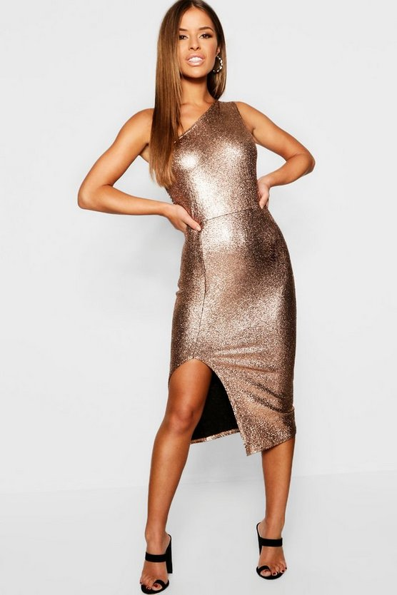 Petite One Shoulder Sparkle Midi Dress