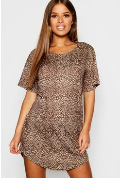 Womens Brown Petite Leopard Print T-Shirt Nightie